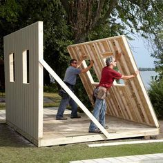 Install Siding, Then Raise Shed Walls - It's not always possible, but if you're using 4 x 8-ft. sheet siding and have enough helpers around to lift the wall when you're done, you can save time by siding the walls before you raise them. Make sure to straighten the wall plates and square the wall by measuring diagonally before you nail on the siding. This is easier to do on a wood shed floor because you can tack the plates to the floor to hold the wall straight and square while you install…