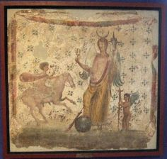 Pompeii IX.3.15, fresco of Isis Fortuna with horn of plenty and sistrum and with a foot on a globe. To the right is Hesperos and left is Helios or Harpocrates - Helios. The painting of Isis-Fortuna (MN Inventory 8836) was found in 1847 in IX, iii, 15 on the north wall of a cubiculum