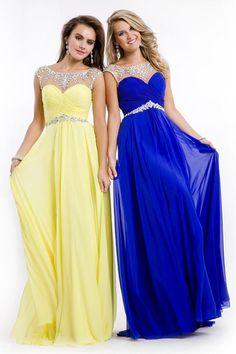 Super Beaded Neckline V Back Mesh Illusion Prom Dresses Sweep Train