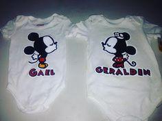 pañaleros pintados a mano Mickey y Minie Mouse