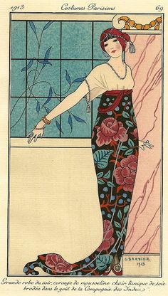 Costumes Parisiens, 1913, fashion illustration by George Barbier.
