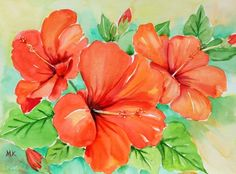 """Red Hibiscus"", painting by artist Meltem Kilic"