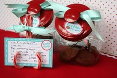 love these candy cane stands for a cookie exchange party- could put the name of the cookie recipe and its baker on them