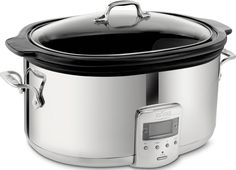 All-Clad SD700450 Programmable Oval-Shaped Slow Cooker with Black Ceramic Insert and Glass Lid, 6.5-Quart, Silver -- This is an Amazon Affiliate link. You can get additional details at the image link.