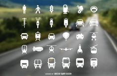 Flat icons keeps coming on Vector Open Stock, here is transport icon set that includes pedestrian, traffic lights, bikes, cars, trucks and even rockets.