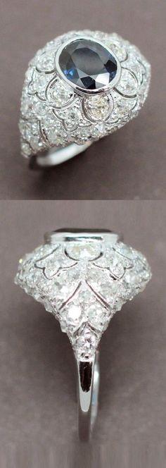 An Art Deco platinum, diamond and sapphire ring, circa 1920. #ArtDeco