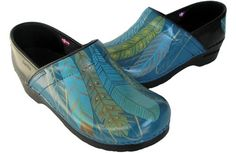 Light as a Feather. Hand painted Sanita women's clogs