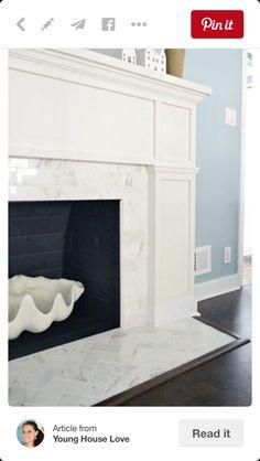 Herringbone on fireplace
