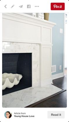 Herringbone on fireplace
