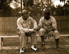Branch Rickey and Jackie Robinson when he was with the Montreal Royals. Baseball Park, Baseball Photos, Leo Durocher, Jackie Robinson Day, Hall Of Fame Game, Philadelphia Athletics, Polo Grounds, Dodger Blue, Cardinals Baseball