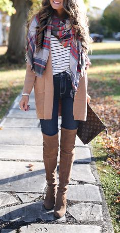 CUTE fall outfit!! Love the pattern mixing with plaid scarf and stripes