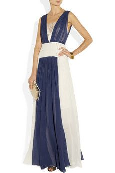goooorgeous white and navy chiffon gown
