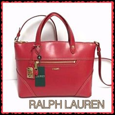 "Ralph Lauren LEATHER satchel convertible bag Gorgeous red leather bag has beautiful gold hardware, lines & stitching! Inside is incredibly roomy yet not bulky to carry! Dbl top handles, 4"" drop. Adj shoulder strap, 19"" longest drop. Top zipper. Front leather removable luggage tag w/cutout ""LRL"", front zip pocket, 4 protective gold metal feet on bottom. Inside: ""LRL"" logo lining, 1 zipped compartment, 2 open pockets. Approx dimensions: 12.0""W X 8.5""H X 6.0""D This will become your go to bag as…"