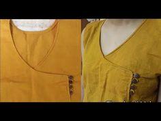 Hi i am roshni iss video me meine aapke sath Angrakha choli ki design step by step share ki hai.i hope mera ye video aapko pasand aayega. Chudidhar Neck Designs, Neck Designs For Suits, Sleeves Designs For Dresses, Dress Neck Designs, Fancy Blouse Designs, Salwar Suit Neck Designs, Kurta Neck Design, Kurta Designs Women, Tailoring Classes
