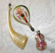 3   musical instruments  Vintage GLASS CHRISTMAS ORNAMENTs # MB 221