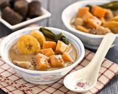 Bubur Cha Cha, a Malaysian dessert consisting of sweet potatoes, taro, plantain, and sago in a sweet fragrant coconut sauce. Serve warm or cold.