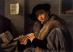 The Flute Player 1519 - Giovanni Girolamo SAVOLDO, Oil on canvas, 74 x 100 cm Pinacoteca Tosio Martinengo, Brescia 15th century, 16th century. Doublet, Cape, Capelet, Romeo,  revels, faire, Elizabethan, Tudor, Renaissance