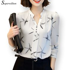 Soperwillton Hot Sale 2016 Summer New Arrival Female Long-Sleeve Blouse Women Shirt Chiffon Ruffle Tops Camisa Renda Blusa The Office Shirts, Chiffon Shirt, Chiffon Ruffle, Plus Size Blouses, Look Chic, Mode Inspiration, Blouse Designs, Blouses For Women, Korean Fashion