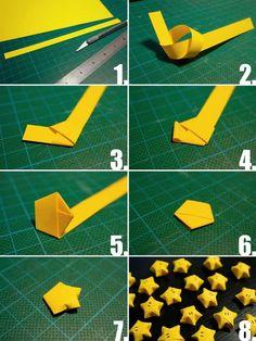 origami Noël facile- comment faire des étoiles de la chance chinoises