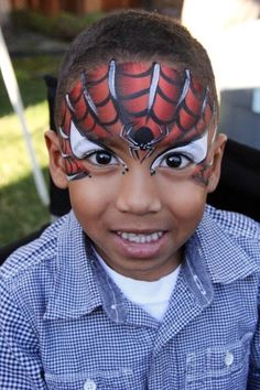 38 Spiderman Face Painting Ideas For Kids Superhero Face Painting, Monster Face Painting, Face Painting For Boys, Face Painting Designs, Spider Man Face Paint, Spider Face, Cool Face Paint, Spiderman Noir, Black Spiderman