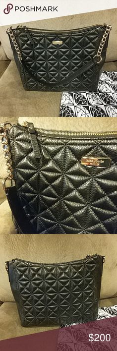 kate spade Aurelia HandBag LOVE this.....but I have 2 now, very similar!!   In absolutely EXCELLENT condition!!!! A gorgeous and sophisticated bag. Simple and chic. Black, square, quilted leather with 14kt gold accents.  No stains. No rips. No holes. No noticable signs of wear. Might as well be NEW!!!! 10.5 in. tall 12.5 in. across 3.5 in. deep. However, I measured 5 in. deep. Interior in PERFECT condition. Black with shiny lettering reads: KATE SPADE NEWYORK Thanks! :) kate spade Bags