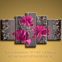 Pentaptych Contemporary Wall Art Floral Painting Poppy Flower Paintings. In Stock $175 from OilPaintingShops.com @Bo Yi Gallery/ ops2345