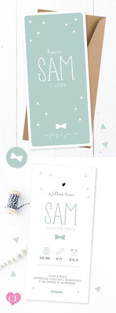 Geboortekaartje jongen | little mister | met lief strikje en driehoekjes, de kleuren zijn aan te passen | baby announcement | babycards | babyboy | jongetje