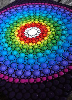 Rainbow Dot Mandala Painting- framed