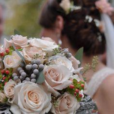 Vintage inspired fresh flower wedding bouquet by Holly's Wedding Flowers LLC.