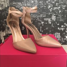 Rose Gold Pumps Beautiful rose gold colored pumps. Great for the office or girls night out! 4 inch heels with a pointed toe & zipper closure. Straps can be worn criss cross or parallel. Worn once inside. I have wide feet & these fit me just fine! Charlotte Russe Shoes Heels