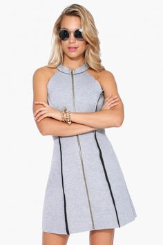 Neoprene Zip Up Dress in Grey | Necessary Clothing