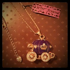 NWT Betsey Johnson Princess Coach Necklace NWT Betsey Johnson gold and purple with rhinestones stagecoach. Crown detail. Chain approximately 30 inches. Betsey Johnson Jewelry Necklaces