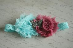 Teal and Rose Pink Shabby Chic Flower with by EnJoyDesign on Etsy, $6.95