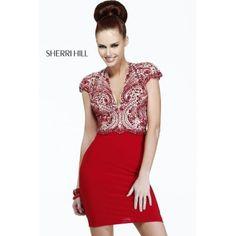 Sherri Hill 21208 Embellished Short Sleeves Dress Red