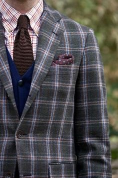 A layered cardigan for great fall and winter style. Style guide for how to wear a layered cardigan with a plaid blazer and more dapper look. Plaid Blazer, Well Dressed, Mens Suits, Dapper, Style Guides, Winter Fashion, Suit Jacket, Style Inspiration, Mens Fashion
