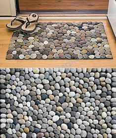 Natural Pebble Mat - Mixed Stone.  Basement bathroom