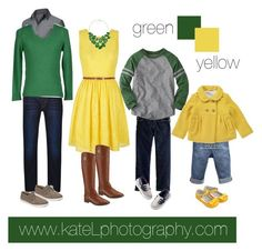 Yellow/green family outfit inspiration: what to wear for a family photo session in the spring or summer. Created by Kate Lemmon, www.kateLphotography.com