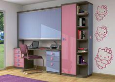 Habitación infantil con litera alta metálica de 90 x 190 x 32 cm de fondo.