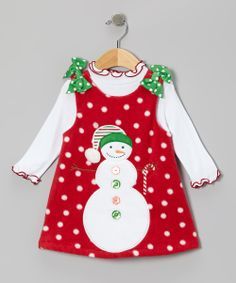 Take a look at this Red Fleece Snowman Top & Fleece Jumper - Infant, Toddler & Girls on zulily today!