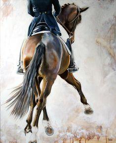 Peinture à lhuile de Sport équestre: Dressage cheval et