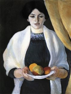 Portrait with Apples: The Artist's Wife, 1909 August Macke German Expressionist Painter 1887 - 1914 August Macke, Franz Marc, Wassily Kandinsky, Painting Prints, Canvas Prints, Art Prints, Cavalier Bleu, Maurice De Vlaminck, Blue Rider