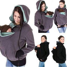 Baby Carrier Jacket Kangaroo Maternity Fleece Outerwear Coat Pregnant Women