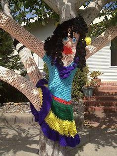 oops, tree crash...yarn bomb in Santa Cruz, CA.