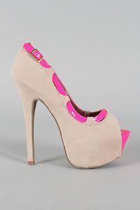 Neon Heels Pumps | High Heel Shoes Sandals Stiletto Pumps Beige Neon Pink Peep Toe w ...