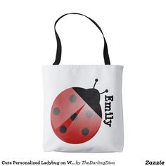 Cute Personalized Ladybug on White Tote Bag