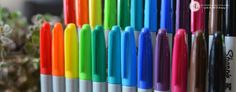 Wooden Sharpie Holder - diy pencil marker organizer #sharpiebts - Wooden Sharpie Holder to not only showcase the beautiful rainbow display but to organize the markers and keep them within arm's reach