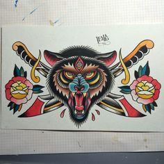 Traditional three-eyed wolf tattoo flash by @nitrobolts