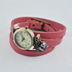 Armbanduhren - Echtleder Wickelarmbanduhr in altrosa mit Cabochon - ein Designerstück von mias-dekostube bei DaWanda