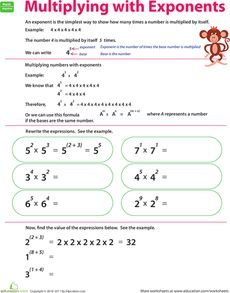 Multiplying With Exponents Worksheet Algeworksheets Fifth Grade Math Math Resources Math Activities