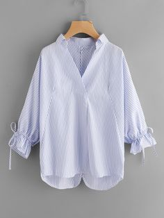 Shop Striped Drawstring Cuff Blouse online. SheIn offers Striped Drawstring  Cuff Blouse   more to d08def9b078